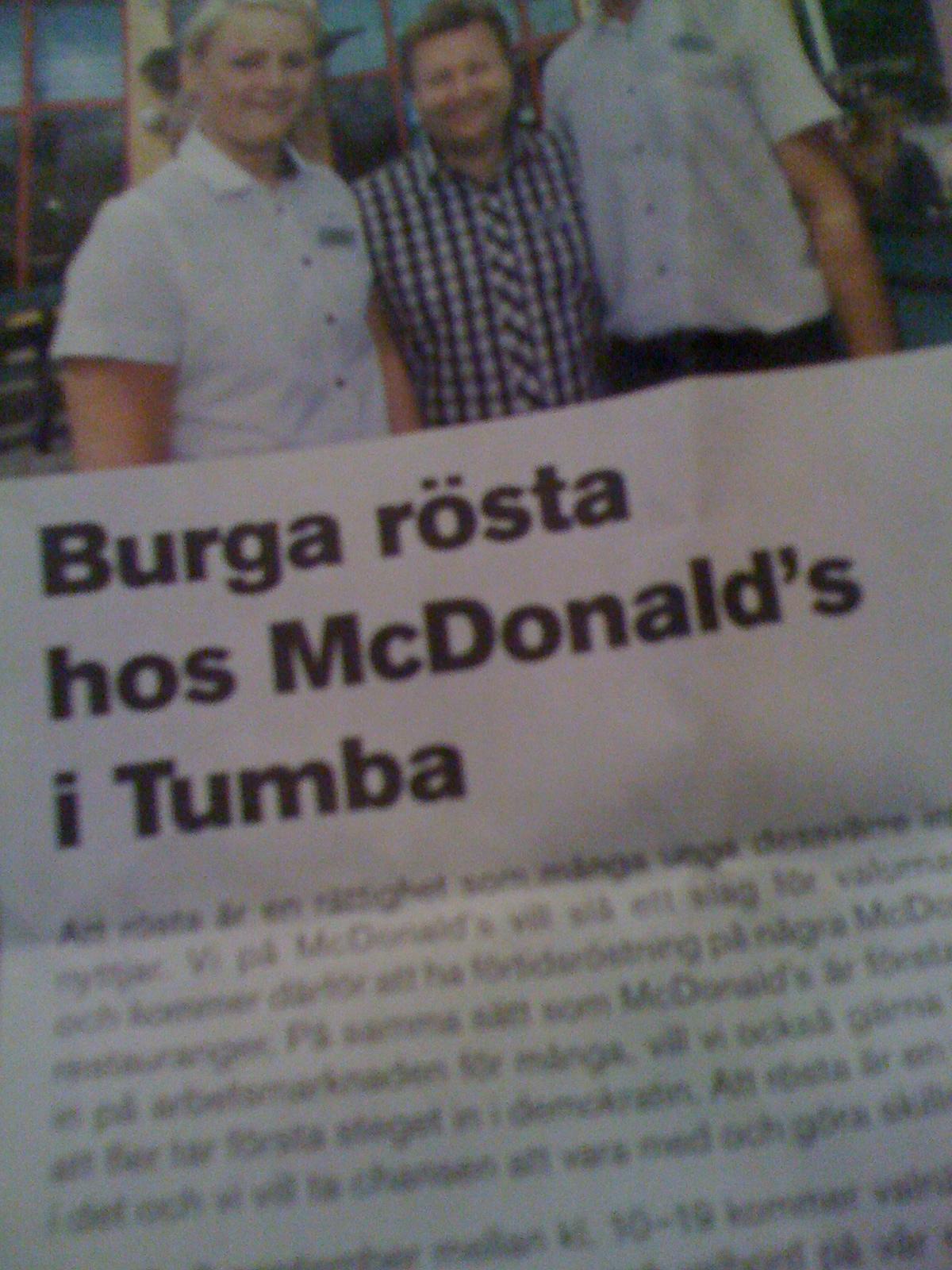 McDonalds i Sverige tar i mot forhåndstemmer